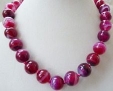 Beautiful 8mm Pink Striped Agate Round Gemstone Beads Necklace 18""