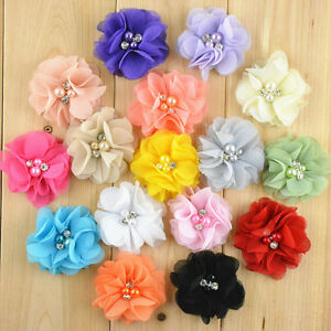 """Lot 20 PCS Assorted DIY Wedding Party Chiffon Flowers Corsage Pearl No Clip 2"""""""