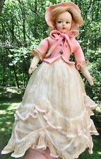 Lenci Felt Doll 11.5 inches 1930s Clothes Antique Vintage Dress Bonnet