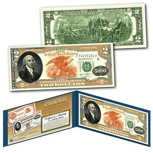 1882 Series James Madison $5,000 Gold Certificate designed on a Real $2 Bill