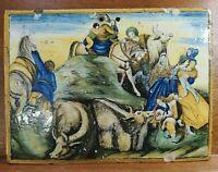 """Secolo XVIII, Maiolica Ceramica """"Castelli"""", La Fuga in Egitto cm. 22,3x16,4x1,4"""