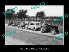 OLD LARGE HISTORIC PHOTO OF MASSEY HARRIS 55 RT TRACTOR 1948 TEST PHOTO 1