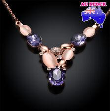 18K Rose Gold Plated Opal And Purple Swarovski Crystal Necklace