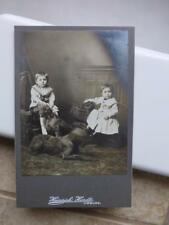 Antique Cabinet Card old Photo c1900 Two Kids w Two BIG DOGS Irish Wolfhounds