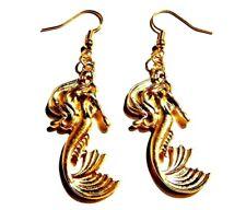 GOLD TONE MERMAID EARRINGS sea nymph sailor Little fairy tale nautical tail M4