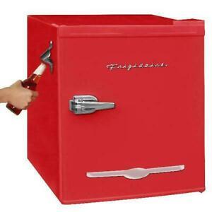 Retro Mini Fridge With Bottle Opener Red Portable Tabletop Frigidaire 1.6 Cu Ft