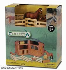 STABLE barn PLAYSET CollectA 89528 with HORSES works w/ Safari, Ltd Schleich NIB
