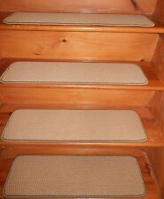 "15 Step  9"" X 30""  Tufted Woven WOOL Carpet Stair Treads."