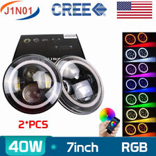 2X LED RGB Halo Ring 7Inch Round 40W Angel Eye Headlight Jeep Wrangler Bluetooth