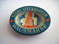 "Interesting Vintage Oval Tin ""Stahlstecknadeln Hausmarke"" Germany *"