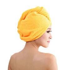 Yellow Microfibre Shower Hair Drying Wrap Towel Quick Dry Hair Hat Cap Turban