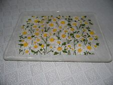 VINTAGE STOTTER LARGE ACRYLIC DAISY FLORAL SERVING TRAY PLATTER