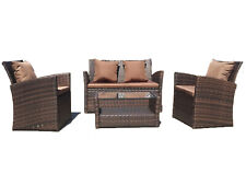 UFI 4pcs outdoor furniture Wicker Ratten Garden Sofa Cushioned and Table Brown