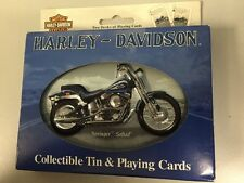 NEW-Harley Davidson Collectible Tin & Playing Cards Springer Softail