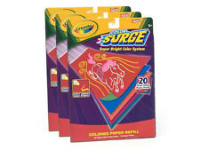 Nib! 3 Packs Crayola Color Surge Super Bright Paper Refill 20 Pages/Pack
