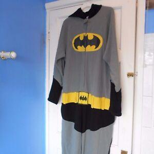 classic batman PYJAMAS TOP FESTIVAL FANCY DRESS costume ONE PIECE ONESY men grey