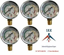 "New 5 Pack 1/4"" 200 PSI Air Compressor Pressure/Hydraulic Gauge Side Mount Gauge"