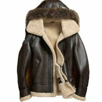 Men's RAF Flight Aviator Fur Shearling Real cow hide B-3 Bomber Leather Jacket