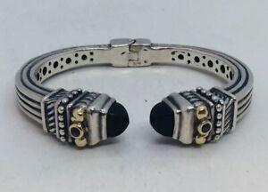 BJC Samuel Benham Sterling Silver & 14k Gold Amethyst Black Onyx Hinged Bracelet