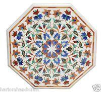 "Size 24""x24"" Marble Coffee Table Top Semi Precious Stone Marquetry Decor H1592"