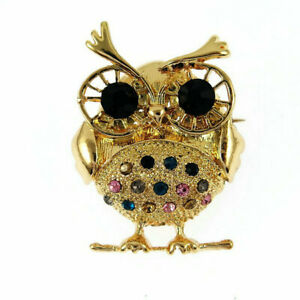 Fashion Betsey Johnson Rhinestone Gold color owl Charm Women's Brooch Pin Gift