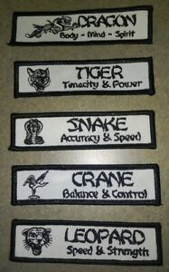NEW! Martial Arts Patches - Dragon Crane Snake Leopard Tiger - Choose - Kung Fu