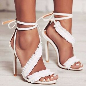 Women High Heel Lace Up Strappy Sandals Floral Peep Toe Stilettos Party Shoes UK