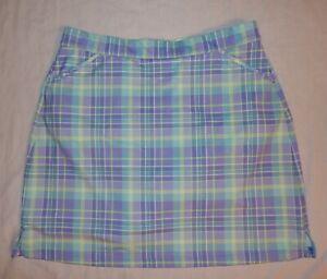PETER MILLAR Purple/Aqua/Green PLAID Wicking 50+ UPF GOLF SKORT Womens M