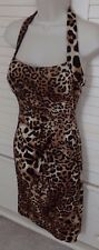 *Cache Sexy Animal Print Halter Molded Cups Stretch Fitted Sheath Dress *Sz 6*