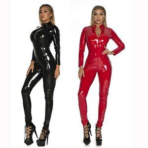 S-5XL Ladies Faux Leather Black PVC Catsuit Jumpsuit Wetlook Bodysuit 4 Way Zips