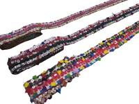 Lot of 3 Banjara Ethnic fabric Indian Lace Trim Kutchi style Mirror Embroidery
