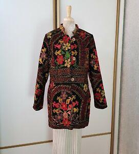 Handmade black velvet embroidered jacket,ethnic kaftan vintage suzani,boho coat