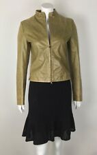 Patrizia Pepe Firenze Women's Leather Jacket 42 Small Olive Green Made in Italy