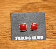 Navajo Sterling Coral Stud Square Earrings