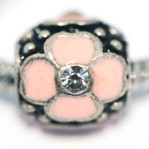 1x Pink Flower Bead Charms Spacer Fit Eupropean Chain Bracelet Making Jewelry
