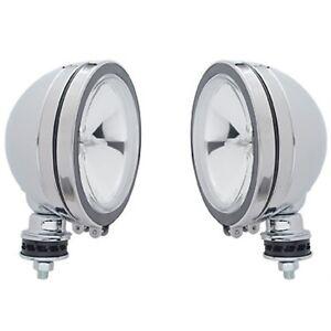 "6"" Off Road Utility Work Chrome Halogen Light Clear Lens Rubber Rim 12V H3 Pair"
