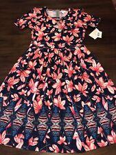 NWT LuLaRoe Large Pink Floral & Geometric Dipped Amelia ZIP-up Pocket Dress