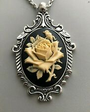 ROSE Ivory on Black CAMEO Silver PENDANT NECKLACE - New VINTAGE VICTORIAN STYLE