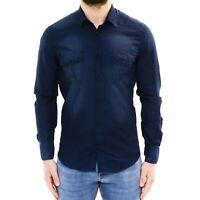 Camicia Jeans Uomo Slim Fit Blu Denim Manica Lunga Cotone Casual M L XL XXL