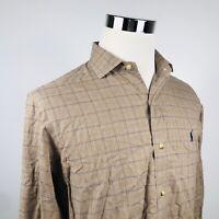 Polo Ralph Lauren Mens Medium Glen Plaid Casual Shirt Brown Blue Recent Label