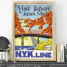 Tourism by NYK Line Visit Japan By Japan Mail vintage print - framed & unframed