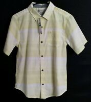 Calvin Klein Jeans Boy's Large 14/16 Shirt Short Sleeve Button Up White Yellow