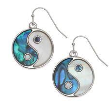 White Mother of Pearl & Blue Abalone / Paua Shell Yin Yang Silver Hook Earrings