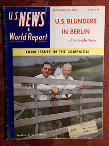 US NEWS WORLD REPORT magazine September 10 1948 Thomas E. Dewey Earl W. Warren