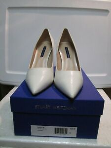 Stuart Weitzman Cream Caviar Patent Leather LANEY 95 Pumps Shoes Size 8 M NEW