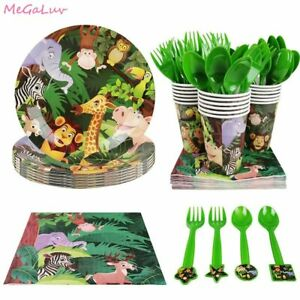 Safari Jungle Animal Theme Tableware Birthday Party Supplies Decorations Set