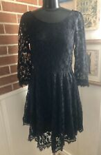 Free People $128 Floral Mesh Lace Dress 3/4 Sleeve Size 4 Party Wedding Guest