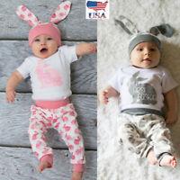 0-18M Newborn Baby Girl Boy Cartoon Easter Outfit Romper Top Long Pants Set E