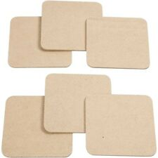 Plain Coasters Set - Square Wood Coaster x 6 MDF Paint Decorate Craft Home Gift