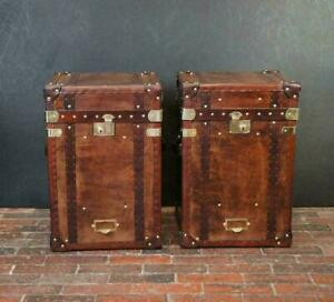 Antique Inspired English Handmade Tall Leather Occasional Side Table Chests
